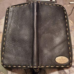 Fendi selleria zip around leather wallet